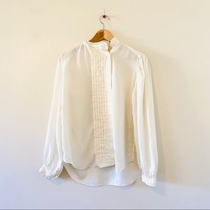 Vintage foxcroft ivory white pleated blouse top 16
